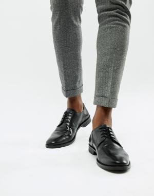Черные кожаные дерби -Черный цвет ASOS DESIGN