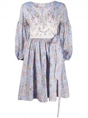 Платье с пышными рукавами и цветочным принтом Liberty London. Цвет: синий