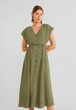 Платье Mango - NORMAN. Цвет: зеленый