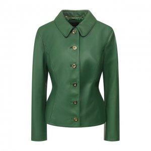 Кожаная куртка Escada. Цвет: зелёный