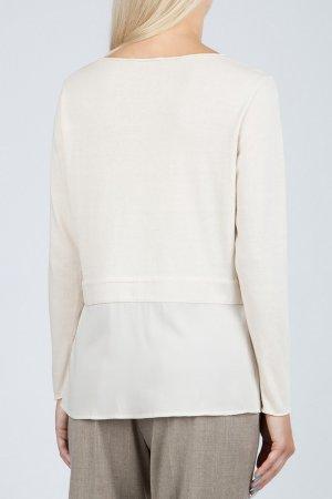Кремовый пуловер с отделкой из шелка Fabiana Filippi