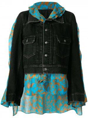 Многослойная джинсовая куртка-кейп Maison Mihara Yasuhiro. Цвет: черный