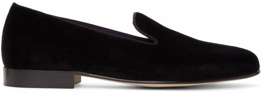 Black Velvet Alonzo Loafers Ralph Lauren Purple Label. Цвет: black