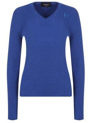 Пуловер шерстяной ROCHAS. Цвет: голубой