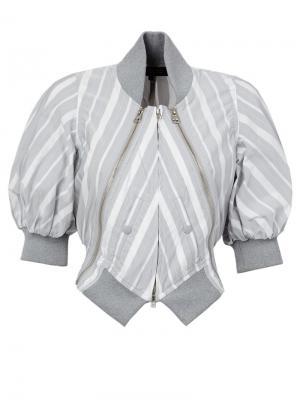 Полосатая куртка-бомбер Anrealage. Цвет: серый