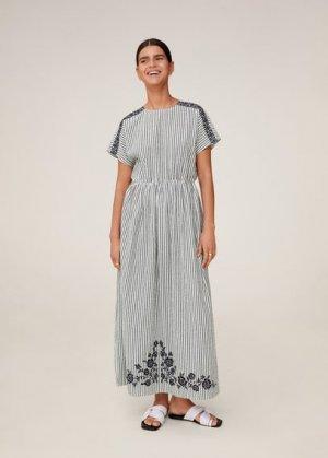 Длинное платье с вышивкой - Embro-a Mango. Цвет: глубокий темно-синий