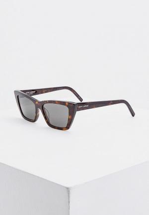 Очки солнцезащитные Saint Laurent SL 276 MICA 002. Цвет: коричневый