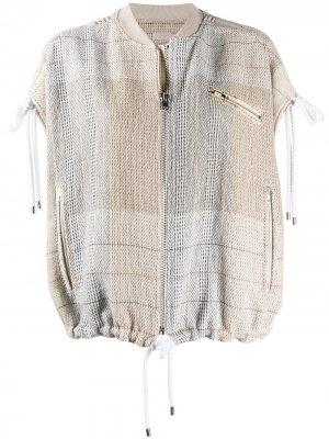 Клетчатая куртка-бомбер без рукавов MRZ. Цвет: xx11sa