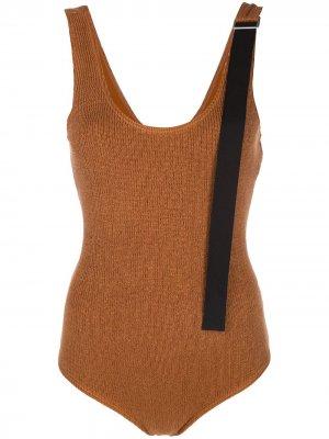 Трикотажное боди с контрастным ремешком Jil Sander. Цвет: коричневый