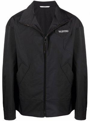 Куртка Garden с цветочной аппликацией Valentino. Цвет: черный
