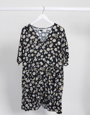 Черное oversized-платье на пуговицах с цветочным принтом -Черный Monki