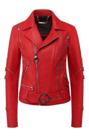 Кожаная куртка Philipp Plein. Цвет: красный