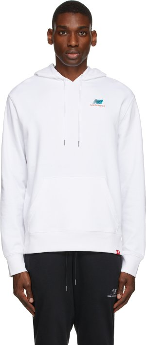 White Essentials Embroidered Hoodie New Balance. Цвет: wt white