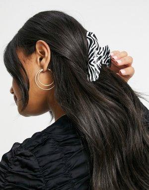 Заколка для волос с зебровым принтом -Многоцветный ASOS DESIGN