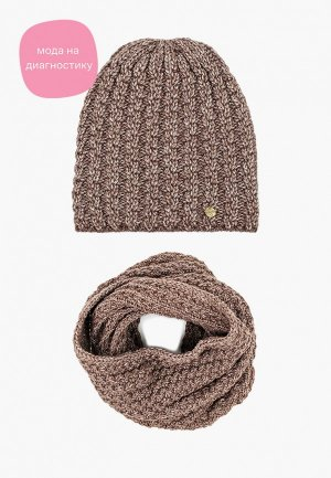 Комплект Dispacci шапка и снуд. Цвет: коричневый