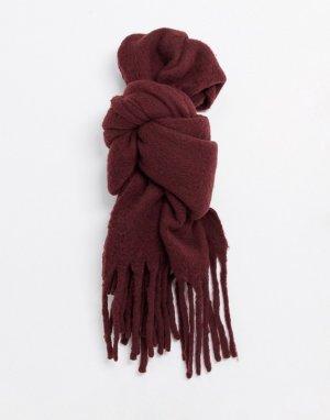 Бордовый шарф-одеяло с начесом и кисточками -Красный AllSaints