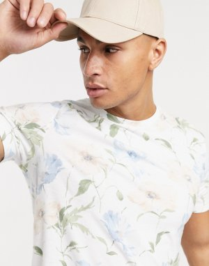 Белая футболка с асимметричным краем и цветочным принтом -Белый Abercrombie & Fitch