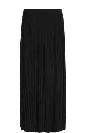Плиссированная юбка-миди из шерсти Loro Piana. Цвет: темно-серый