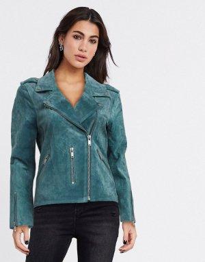 Зеленая кожаная куртка -Зеленый Selected
