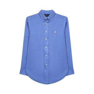 Льняная рубашка Ralph Lauren. Цвет: синий