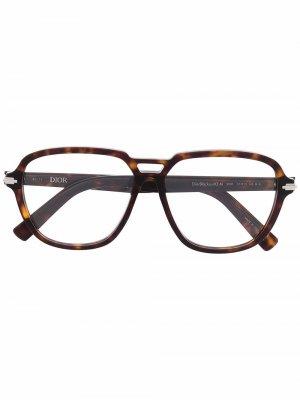 Очки-авиаторы Blacksuit черепаховой расцветки Dior Eyewear. Цвет: коричневый