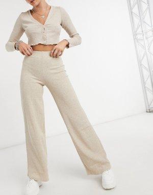 Бежевые брюки в рубчик с широкими штанинами из переработанного хлопка от комплекта -Бежевый Bershka
