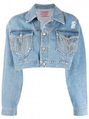 Джинсовая куртка с кристаллами Chiara Ferragni. Цвет: синий