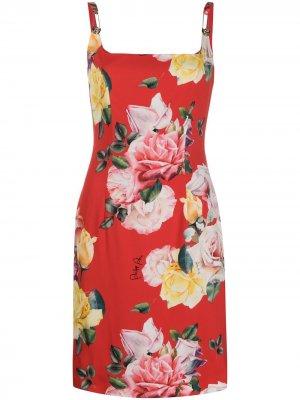Короткое платье Milva с цветочным принтом Philipp Plein. Цвет: красный