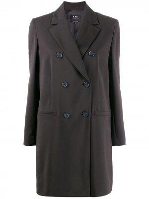 Двубортное пальто-блейзер A.P.C.. Цвет: черный