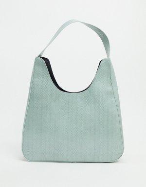 Большая зеленая сумка-шоппер с отделкой под рептилию -Зеленый ASOS DESIGN