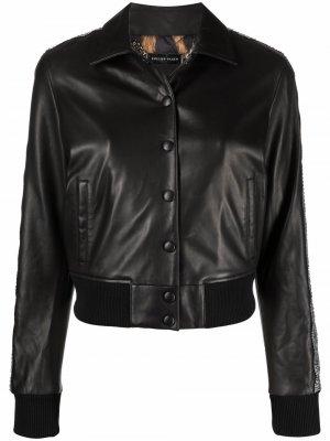 Куртка с кристаллами Philipp Plein. Цвет: черный