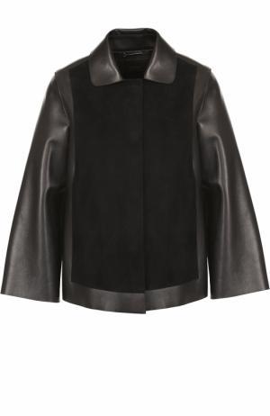 Кожаная куртка свободного кроя с замшевой отделкой Giorgio Armani. Цвет: чёрный