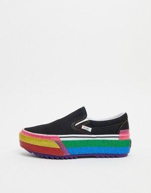 Кеды-слипоны с разноцветной наборной подошвой -Черный Vans