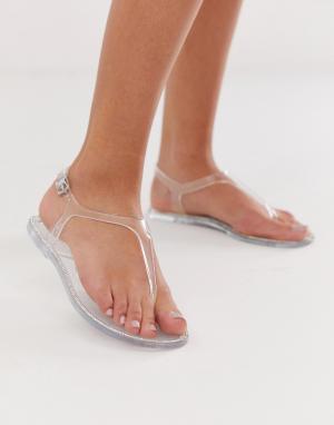 Прозрачные сандалии New Look. Цвет: серебряный
