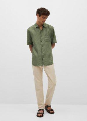 Рубашка 100% лен с короткими рукавами - Ants Mango. Цвет: хаки