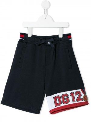 Спортивные шорты с логотипом Dolce & Gabbana Kids. Цвет: синий