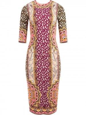 Платье миди Delora в технике пэчворк Alice+Olivia. Цвет: разноцветный
