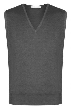 Однотонный шерстяной жилет Cruciani. Цвет: темно-серый