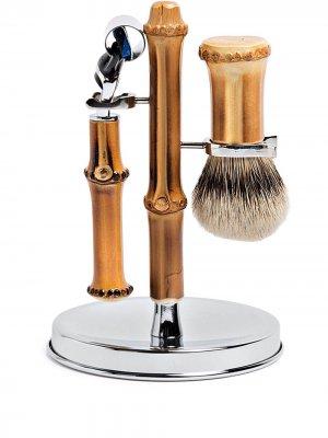 Набор для бритья с бамбуковыми ручками Lorenzi Milano. Цвет: коричневый