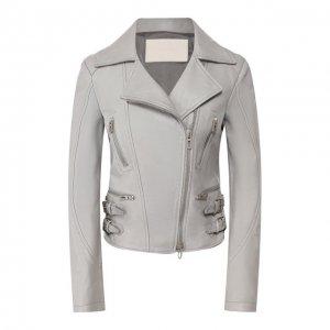 Кожаная куртка DROMe. Цвет: серый