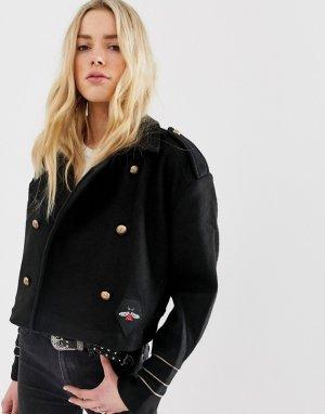 Байкерская куртка с добавлением шерсти Blank NYC-Черный NYC