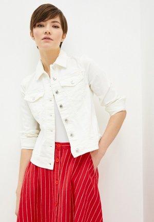 Куртка джинсовая United Colors of Benetton. Цвет: белый
