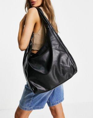 Большая черная сумка-тоут из искусственной кожи с узелком -Черный цвет Topshop