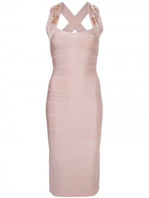 Платье миди с отделкой бусинами Hervé Léger. Цвет: розовый