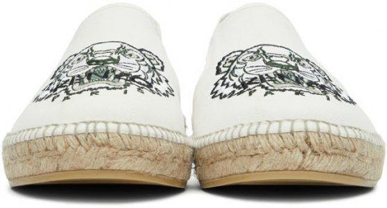 White Canvas Tiger Head Espadrilles Kenzo. Цвет: 02 off white