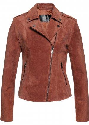 Куртка из натуральной замши bonprix. Цвет: корич-невый