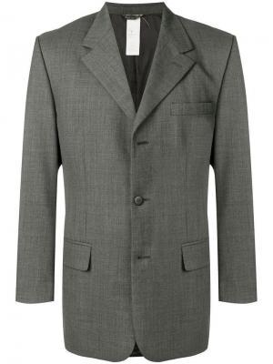Пиджак с заостренными лацканами Versace Pre-Owned. Цвет: серый