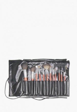 Набор кистей для макияжа Limoni MAHOGANY (12 предметов) + чехол. Цвет: черный