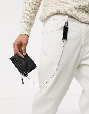 Черный бумажник с серебристыми цепочками ASOS DESIGN