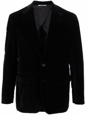 Однобортный бархатный пиджак Canali. Цвет: черный